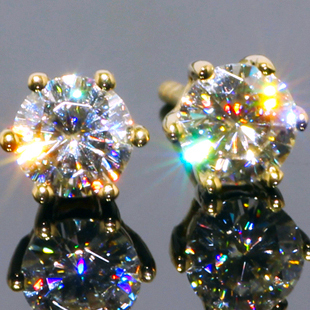 Queen Brilliance 0.5ct Solid 14K 585 Yellow Gold Lab Grown Moissanite Diamond Stud Earrings Diamond Jewelry