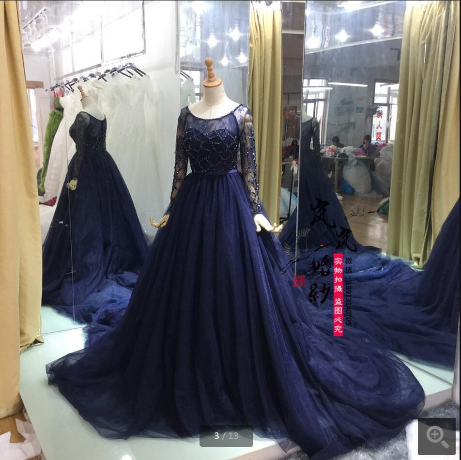 Blue Wedding Gowns Fashion: Gorgeous Navy Blue Long Sleeve Evening Dresses Tulle
