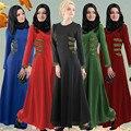 Abaya Musulmán Vestido de Las Mujeres Maxi Malasia Indonesia Árabe de Manga Larga Vestido de Mujer Ropa Túnica Caftán Abaya Jalabiya Islámico