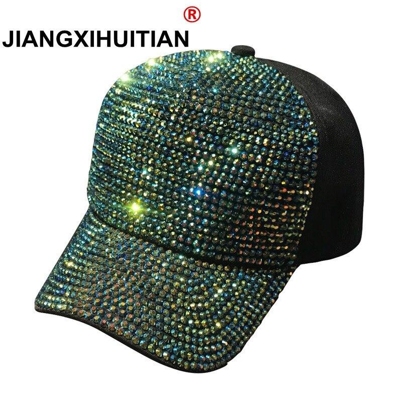 6ffe35d5a6a18 2018 Rhinestones luxury pearl Sequins Baseball Cap For Women Summer Cotton Hat  Girls Snapback Hip hop