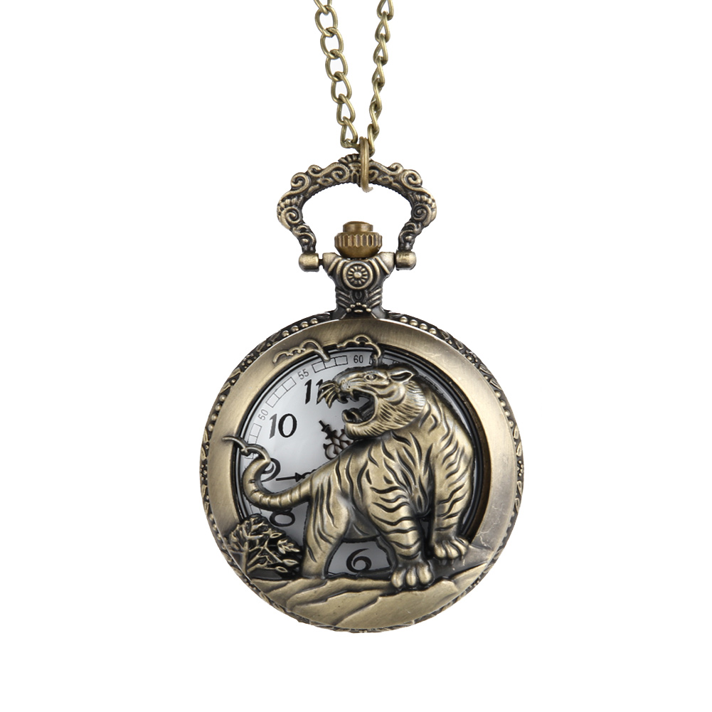 Vintage Tiger Hollow / Carved Quartz Pocket Watch Necklace Pendant Chinese Zodiac 12 Carving Back for Women Men Gift LXH chinese zodiac bronze pig quartz pocket watch necklace pendant carving back for women men gifts lxh
