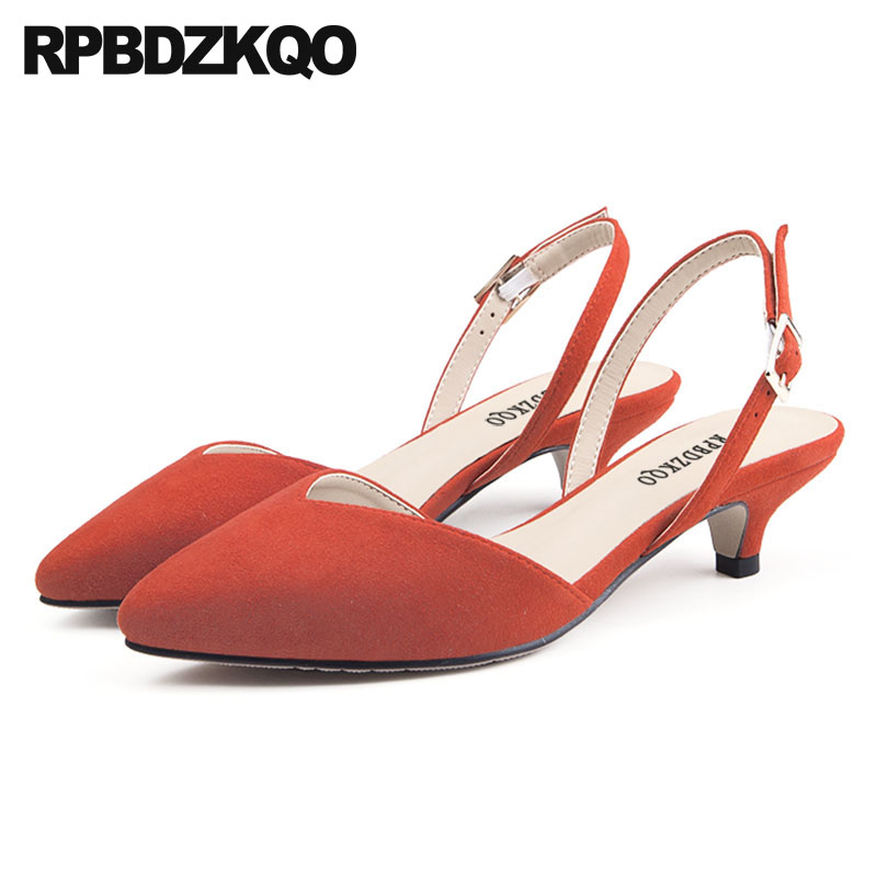 Ladies Stiletto Suede 12 44 High Heels Office 8cm 11 43 Genuine Leather  Orange Pumps Shoes Pointed Toe Low Big Size Slingback 569519c04f05