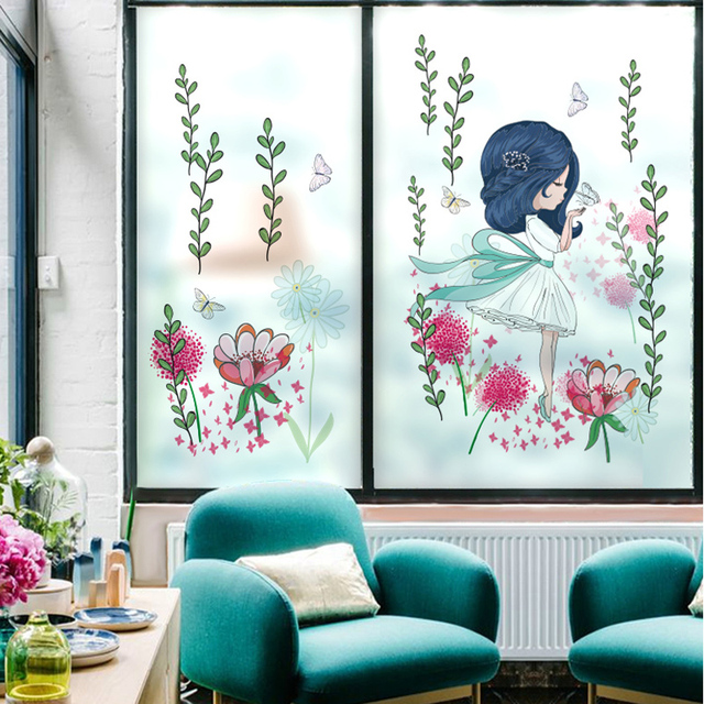 Beautiful Schlafzimmer Fenster Film #4: Mädchen Raumdekoration Elektro Film Glas Folie Blume Wohnzimmer Schlafzimmer  Balkon Fenster Aufkleber Abnehmbare Aufkleber-37