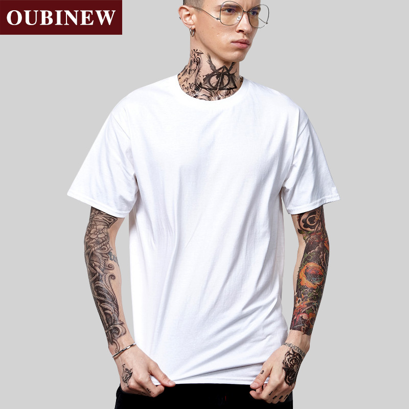 OUBINEW Suprem tshirt Men's Tops Tees 2018 Summer New cotton Oneck short sleeve t shirt Casual Male Pure color T-shirt bottoming