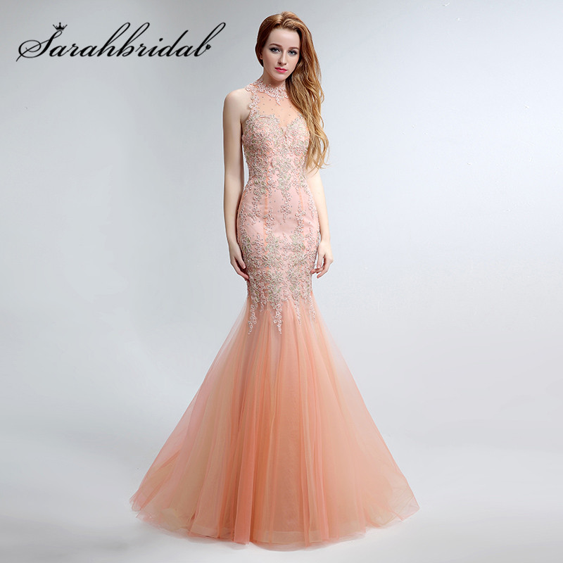 Lace Blush Mermaid Evening Dresses With Embroidery 2017 High Neck