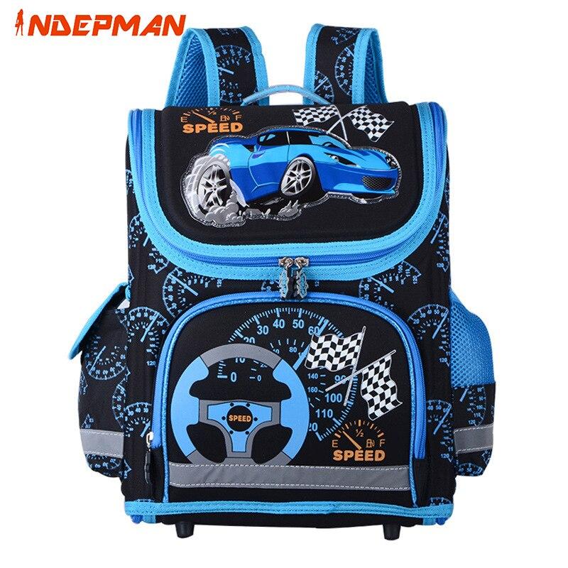 2017 New 3D Print Cars Kids School Bag for Boys Waterproof Nylon Folded Backpack for Children Spiderman Mochila Online unisex school bag for children waterproof nylon reflective tape backpack spine protected design