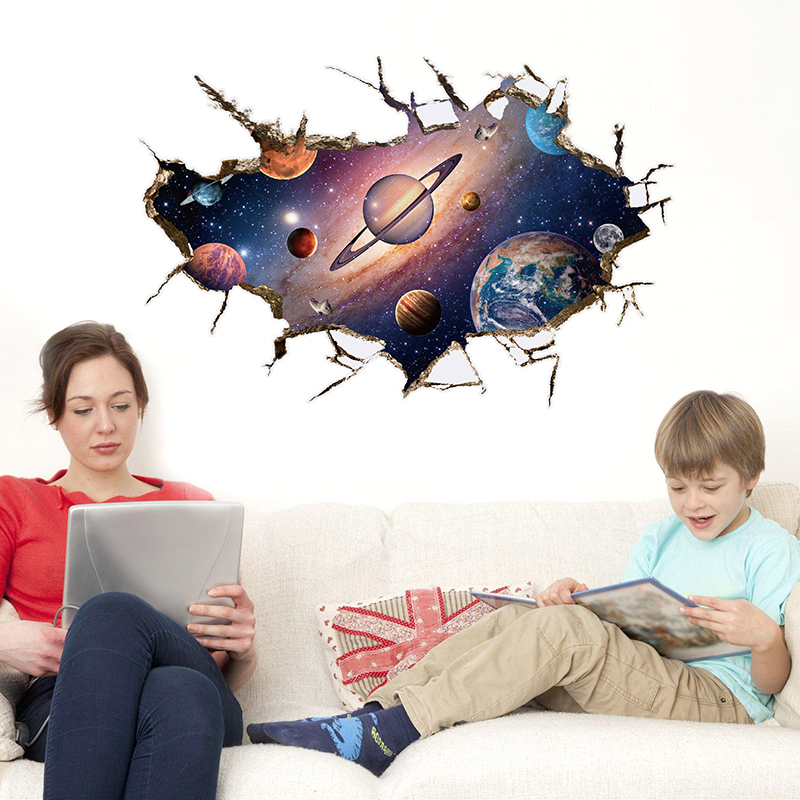 NEW Large 3d Cosmic Spaceman Galaxy Wall Sticker Star Home Decoration For Kids Room Floor Living Room Wall Decals Home Decor 4