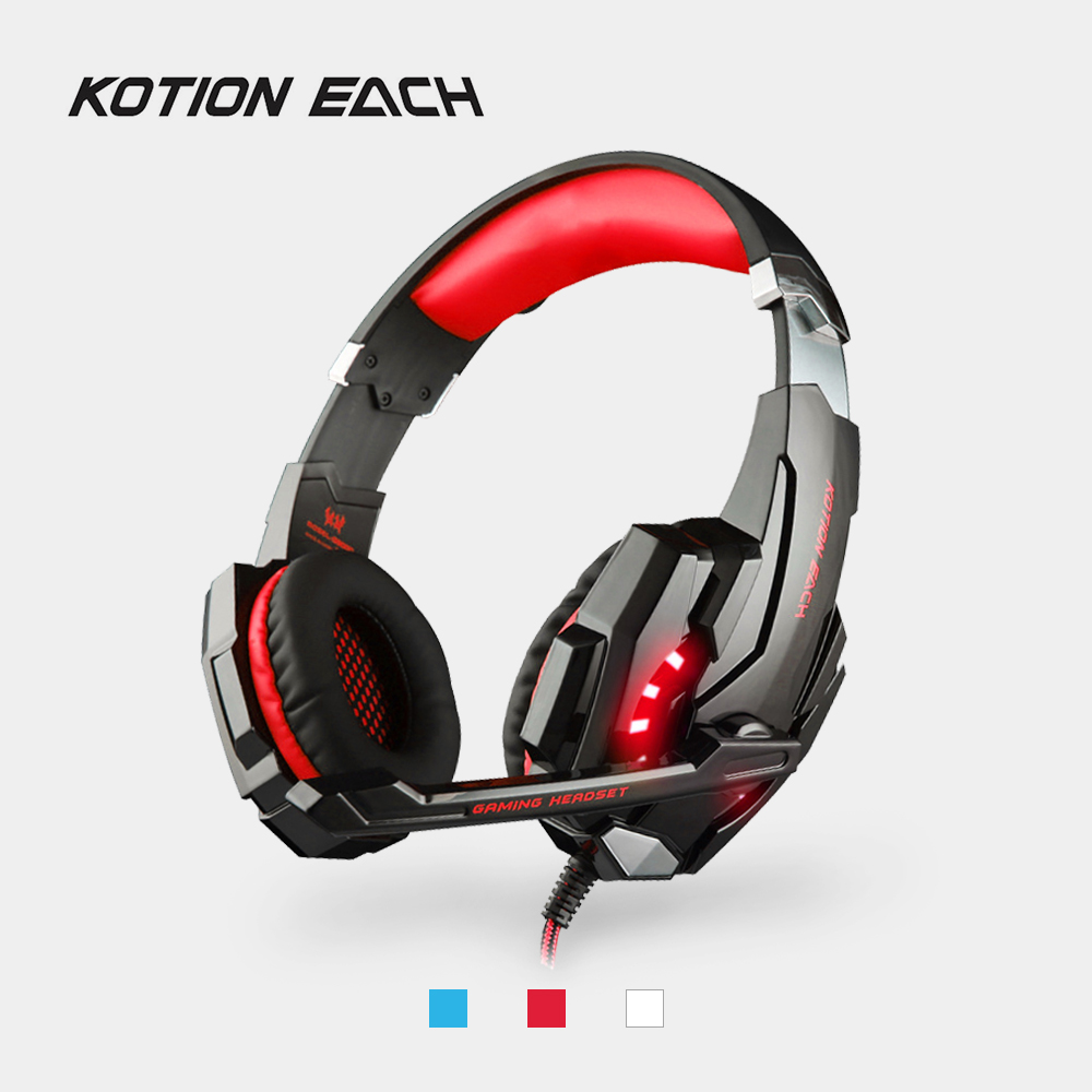 KOTION EACH G9000 Gaming Headphones 3.5mm Wired Headband Headset with Microphone LED Light Bass Earphones for PS4 Gamer Laptop