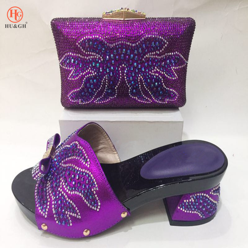 2018 New Italian Design Shoes With Matching Bag Set For Wedding Party African Fashion Women Pumps Purple Shoes and Bags For lady italian shoes with matching bag new design african pumps shoe heels fashion shoes and bag set to matching for party gf25