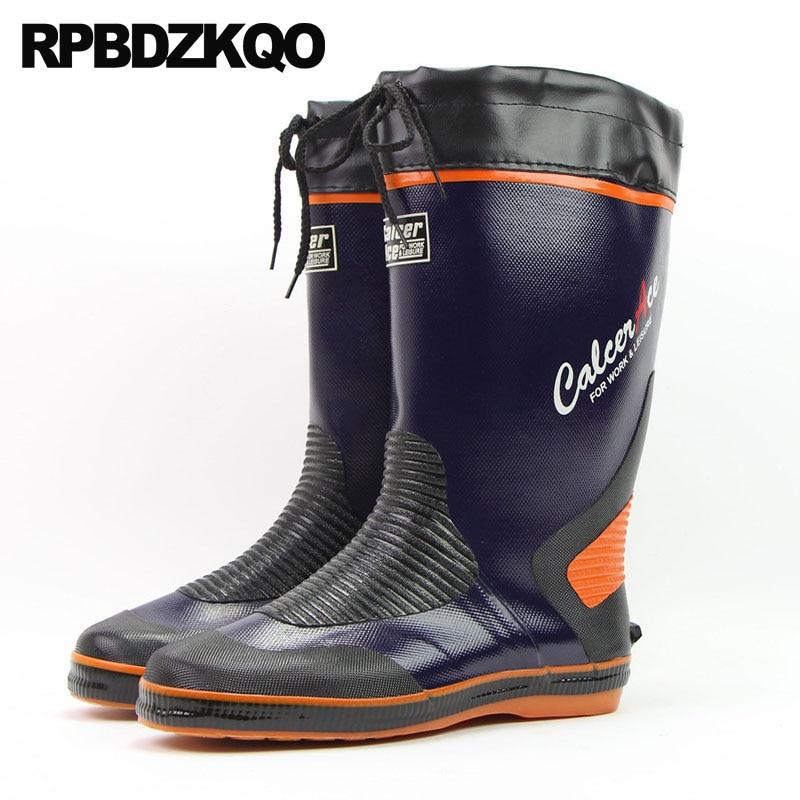 Rainboots Cheap Men Slip On Casual Shoes Blue Plus Size Pvc Rubber Designer Boots Tall Waterproof Mid Calf Rain Flat Male 2018 цена 2017