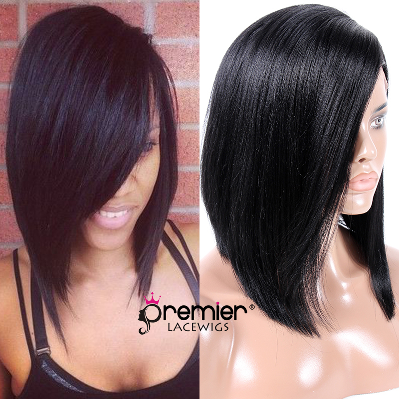 PREMIER Lace Front Wigs Glueless Wigs Charming Side Swept Bangs Bob Cut Indian Remy Human Hair (CLFW-50)