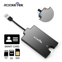 Rocketek DOD Military USB Smart Card Reader CAC Common Access For SIM Card Smart Card SD