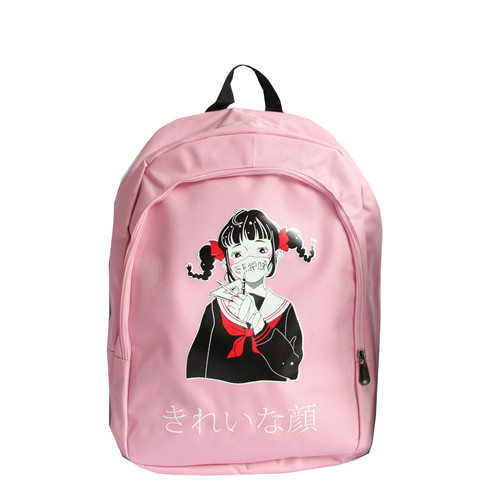 Backpacks Japanese Kawaii Pink Backpacks Teenager Girl Korean Ulzzang Harajuku Anime Letter School Bags Street Large Bookbag Rucksack