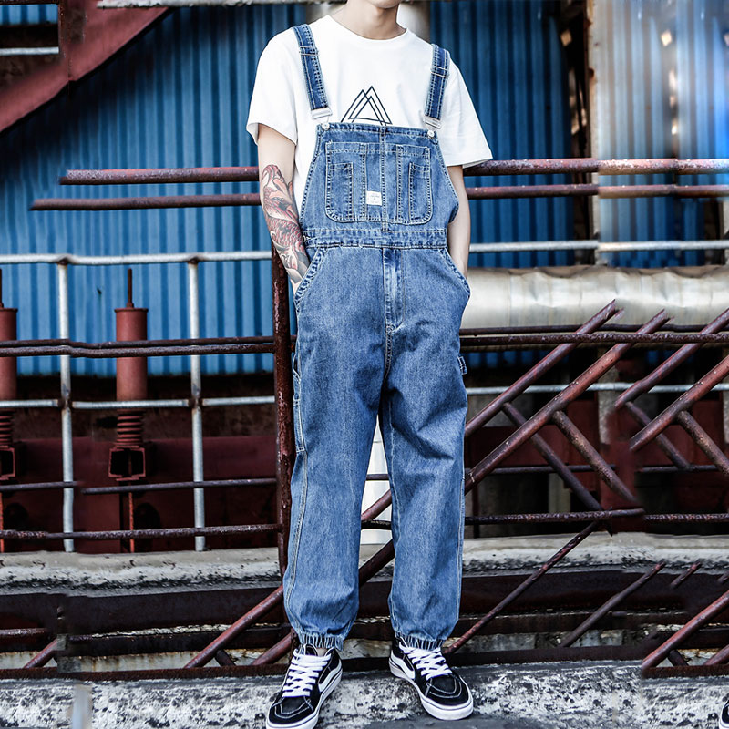 Europe And The United States Tide Brand Hip Hop Piece Denim Overalls Men's Japanese Retro Loose Large Size Tooling Suspenders