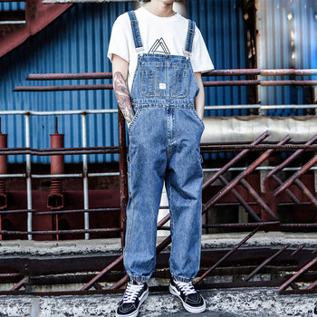 Europe and the United States tide brand Hip Hop piece Denim Overalls Men's Japanese Retro Loose Large size Tooling Suspenders men and women s one piece embroidery hip hop knitted wool acrylic hat europe and the united states style ski cap rx145