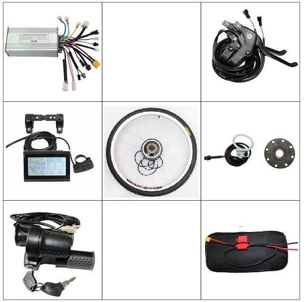 LCD Controller Brake Lever Throttle PAS  Ebike Front or Rear Wheel Conversion Kit 36V 48V 350W Brushless Gearless Motor  цены