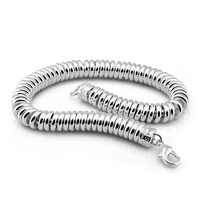 New fashion sterling silver bracelet. Simple solid 925 silver 8MM 20cm Snake chain bracelet for woman Glamour Men Silver Jewelry