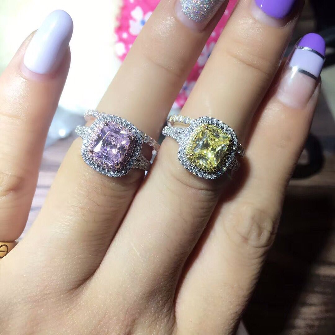 TRS523 Cushion Cut Rings Set 925 Sterling Silver White Gold Color 2CT Synthetic Gem Rings with Wedding Bands tr005 sona simulated gem infinity silver color wedding rings for women solid white gold color wedding bands