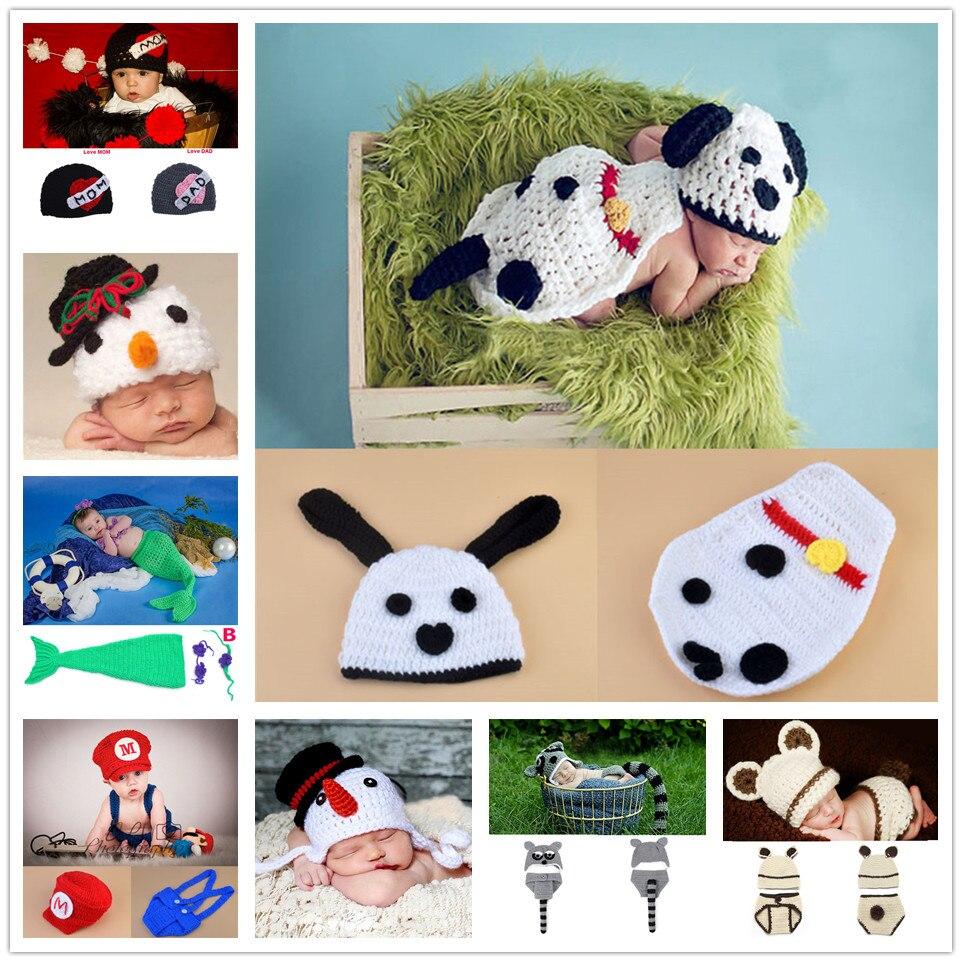 Snowman Baby Crochet Hat Beanie Infant Winter Earflap Hat Cartoon Design Crochet Newborn Photography Props MZS-14152