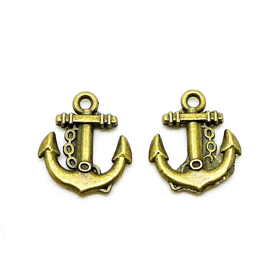 Lot 15x18mm Diy Vintage Antique Gold Anchor Charms For Necklace  Bracelet Earring Keychain Alloy