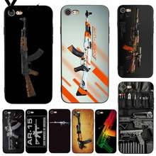 Yinuoda assalto rifle ak 47 ak47 m16 pintura tpu caixa do telefone para o iphone 7x6 s 8 plus xs se xs xr xsmax11 11pro 11promax(China)