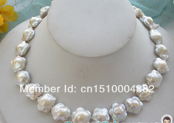 Free shipping Nature 17mm plum blossom white KESHI REBORN PEARL NECKLACE 17 inch have white  Brown purple(choose)