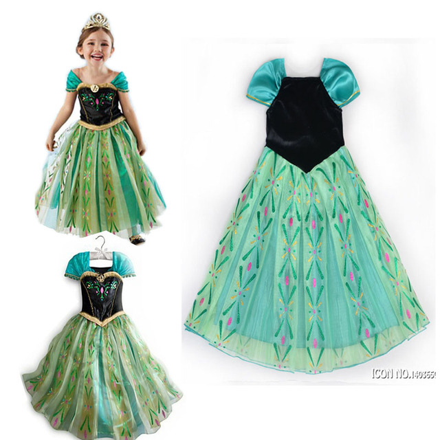 ac89910d385 Fashion Green Custom Anna Elsa Girls Princess Dress Kids Girl Vestidos Baby  Children Cosplay Dresses Pincess Party