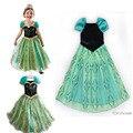 Moda verde Anna e Elsa meninas vestido de princesa crianças Vestidos bebê crianças Cosplay Vestidos Pincess partido Vestidos