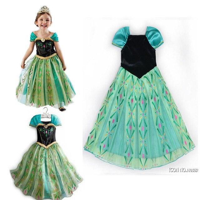 Moda Verde De Encargo Anna Elsa Princesa De Vestir Para Niños Vestidos De La Muchacha Del Bebé Niños Cosplay Vestidos Partido Pincess Vestidos Para