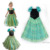 Moda verde de encargo Anna & Elsa princesa de vestir para niños Vestidos de la muchacha del bebé niños Cosplay Vestidos partido Pincess Vestidos para niños