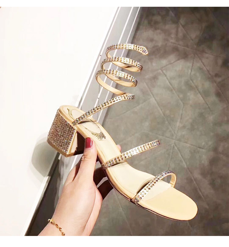 Summer Women Sandals 2019 Fashion Sexy Rhinestone Mid Heel Tied Party Breathable Comfort Shopping Woman Walking Casual Shoes