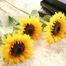 10 Stems Sunflower Artificial Flower Fake Silk Wall Decoration Lifelike Party Decorations