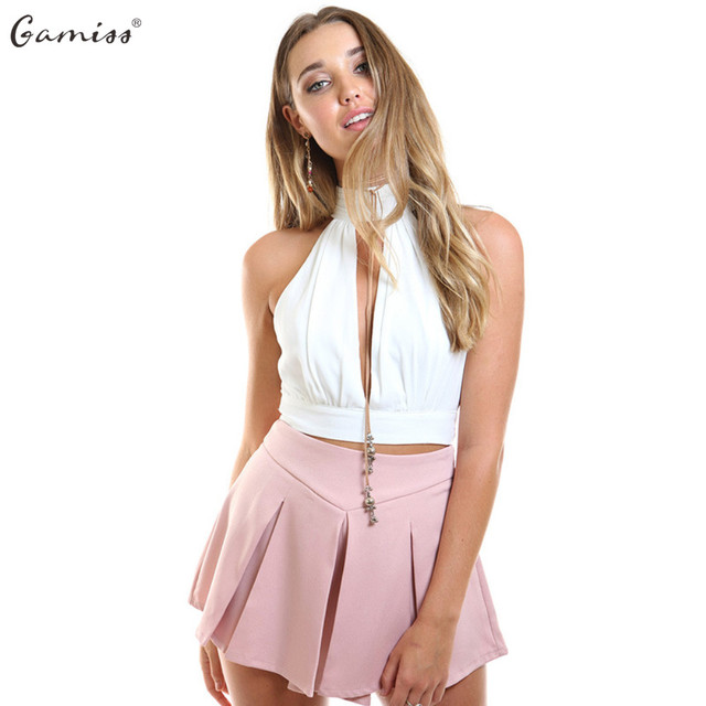 569c01abc825 Gamiss Summer Sexy V Neck Sleeveless Tank Top Lace Stitching Backless Woman  High Collar Tie Girl Fashion Short Crop Tops White