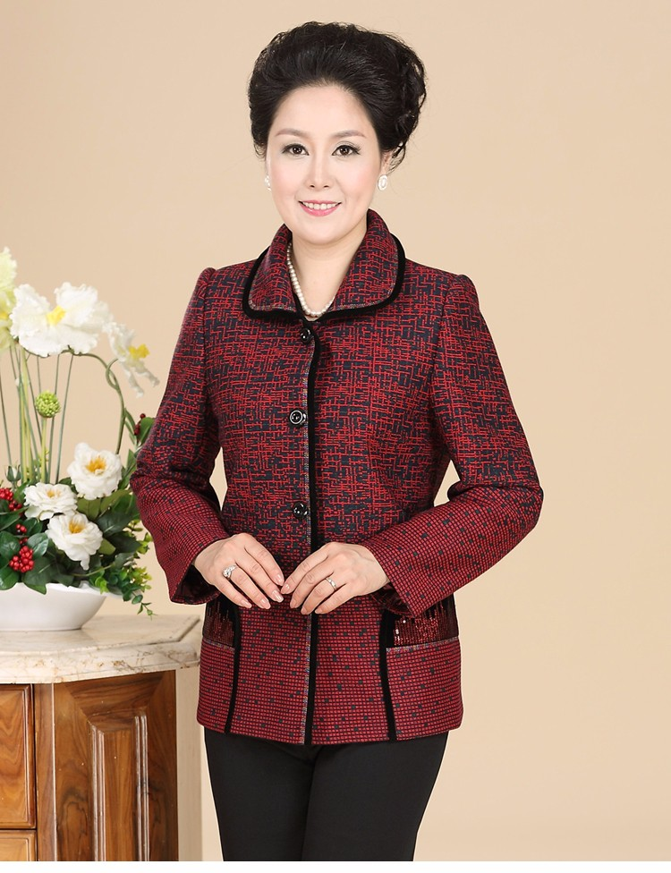 Chinese Autumn Jacket Women\'s 2016 Elegance Red Purple Coat For Middle Aged Woman Button Front Turn Down Collar Casaco Feminino 40s 50s 60s (7)