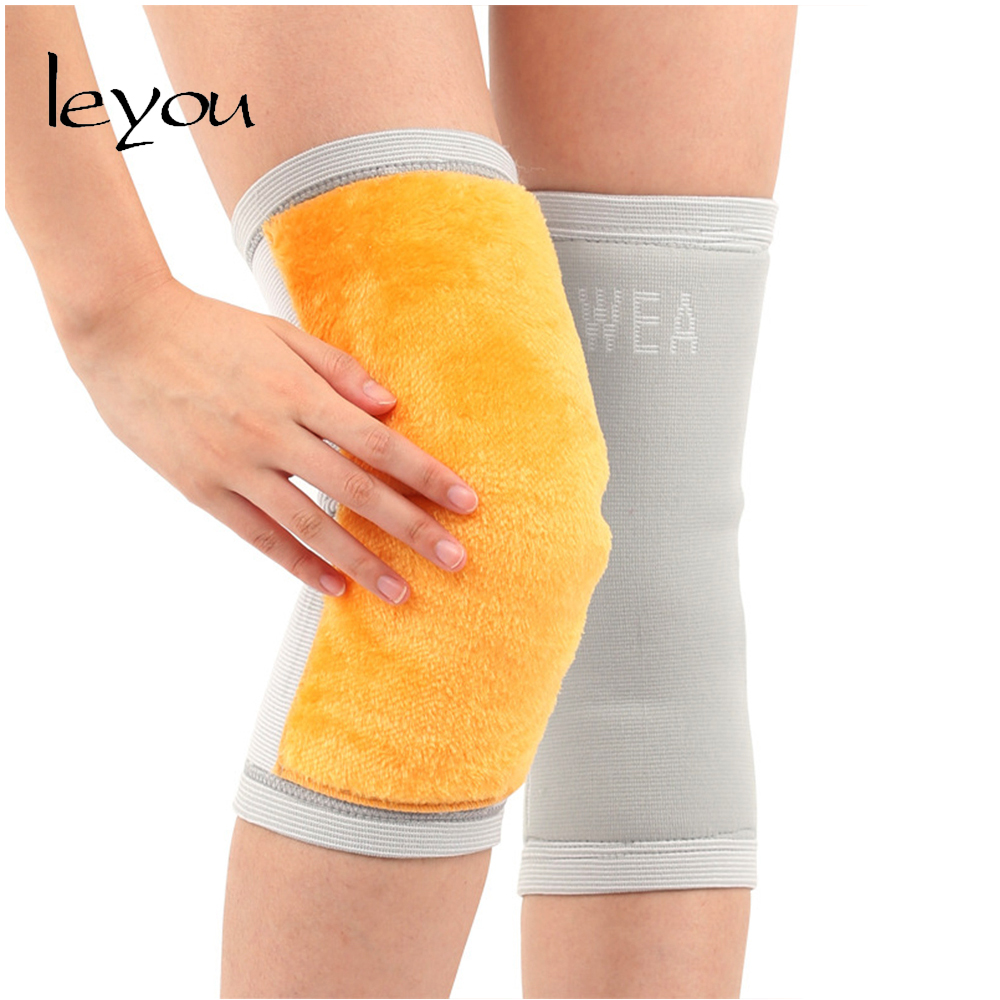 Leyou Unisex Warm Fur Knee Sleeves Compression Knee Warmers Pads Kneecap Leg Warmers Pain Relief Elastic Winter