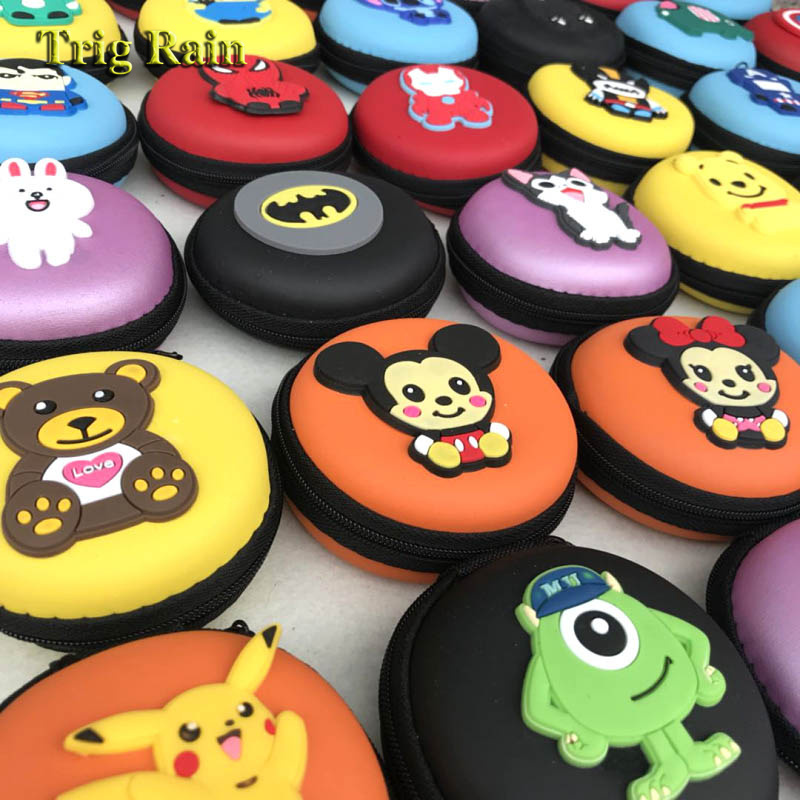 Cartoon Mini Zipper Protective Headphone Case Pouch Earphone Storage Bag Soft Headset Earbuds Box USB Cable Organizer Coin Purse