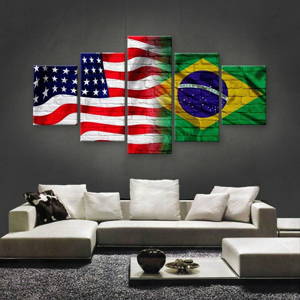 Top Quality Multi Sizes USA And Brazil Flag Art On Canvas