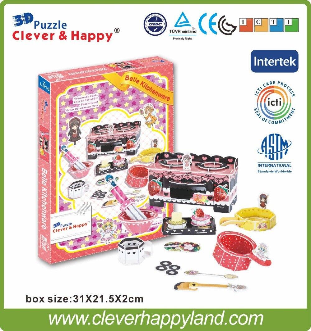 nou inteligent și fericit teren 3d puzzle model Belle bucătărie de Leer diy model de hârtie puzzle joc jucării fată pentru copii de hârtie