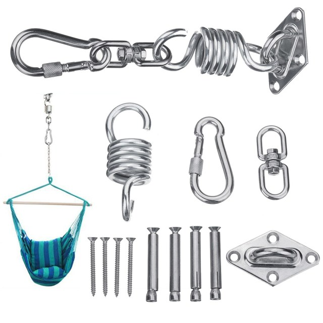 New Stainless Steel Hammock Chair Hanging Kit Ceiling Mount Spring Swivel  Snap Hank Hook Camping Accessories