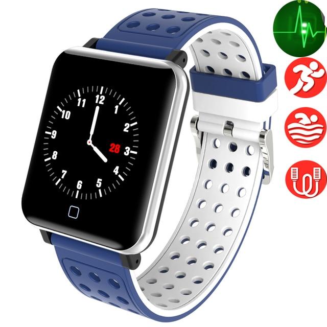 aae018348149 Reloj inteligente de Fitness para hombres y mujeres Monitor de ritmo  cardíaco con pantalla táctil podómetro
