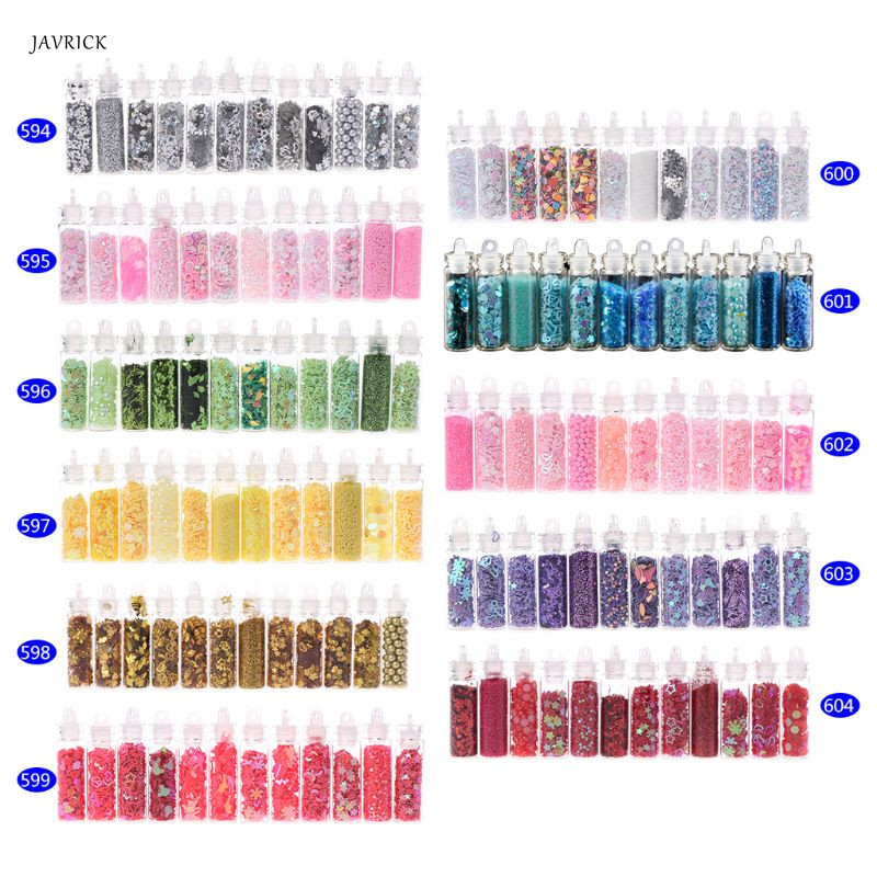 12 Bottle DIY Epoxy Resin Crafts Handmade Nail Beauty Filling Tools Multi Functional Nails Art Glitter Powder Eyes Makeup Tool
