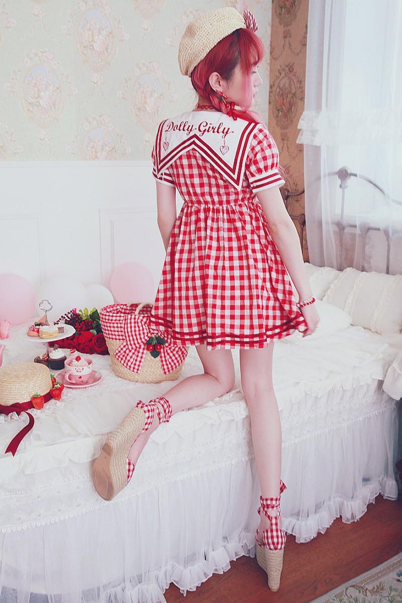 Princess sweet lolita Bobon21 Navy wind embroidered bow tie Plaid Cotton Dress D1492