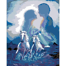 Framed Picture DIY Oil Painting By Numbers Of Angel Horses Modern Wall Painting&Calligraphy Home Decor