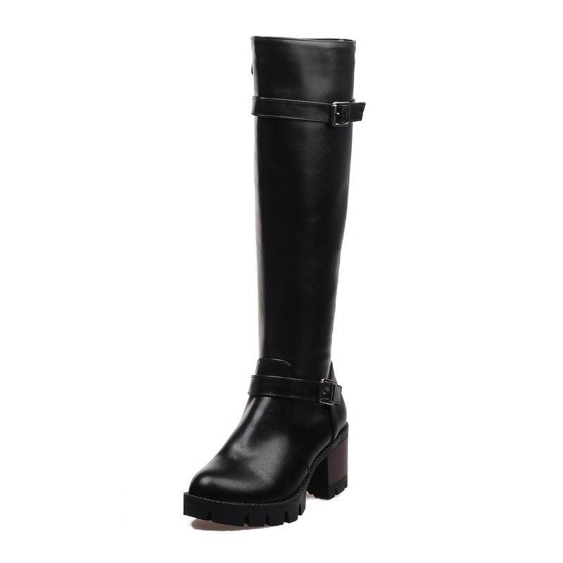 34758ad506b Achat KARINLUNA 2018 Plus Taille 32 43 Boucles Femmes Chaussures Femme  Plate Forme Zip Up Carré Talon Équitation Bottes D hiver Chaussures  chaussure Pas ...