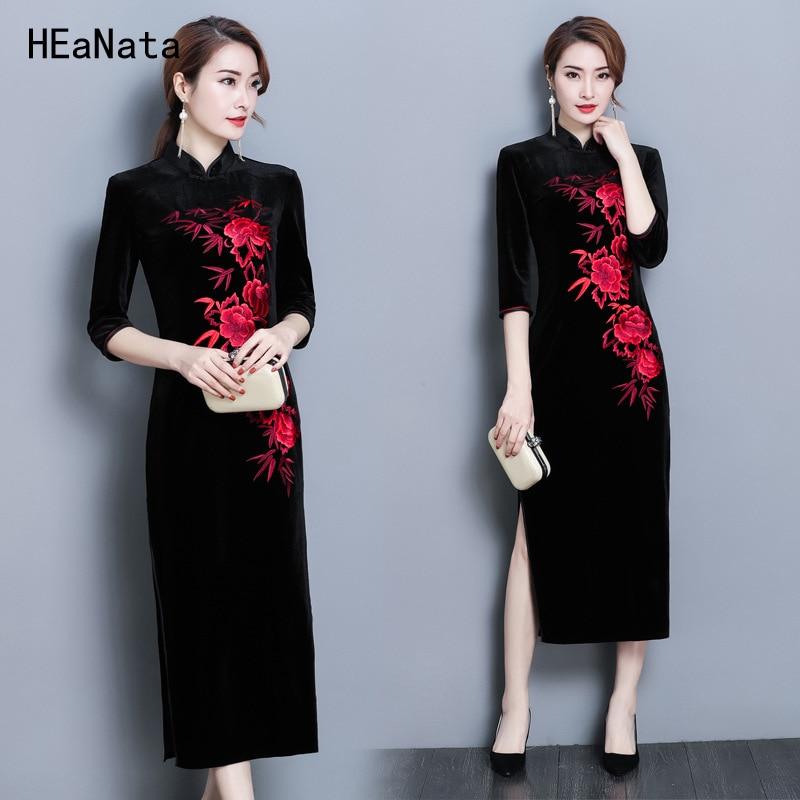 Cheongsam Chinese Traditional Dress Women s Silk Satin Cheongsam Qipao Four Seasons Long Dress Flower 2019