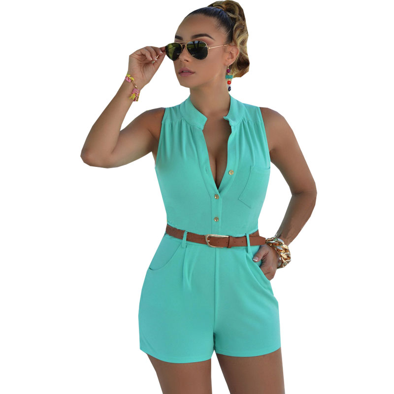 d904fb72537 Shorts Rompers Womens Jumpsuits Summer Ladies Sexy Deep V Neck Short Sleeve  Bodysuit Casual Overalls Women Jumpsuit With Belt-in Rompers from Women s  ...