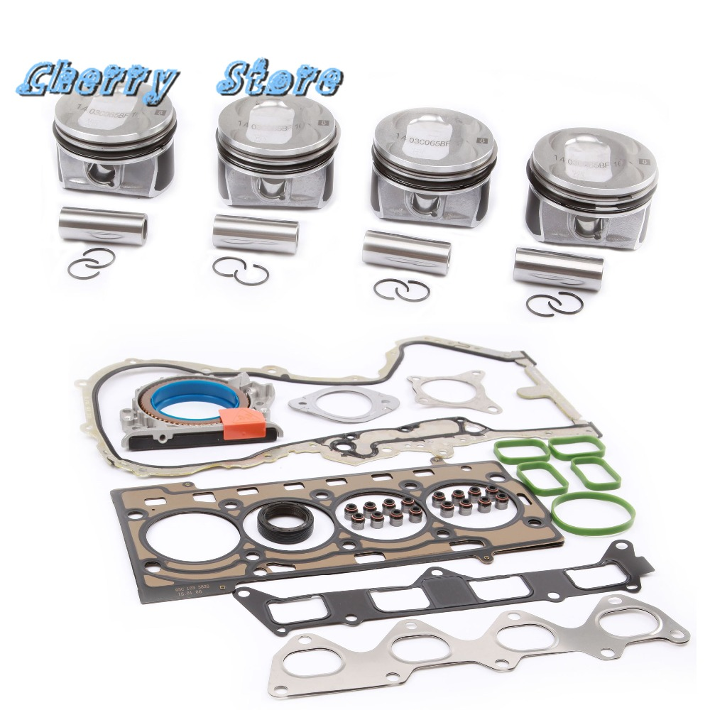 NEW 03C 107 065 BF Piston Sets Engine Gaskets Seals Repair Kit For Audi A1 VW Golf Jetta MK5 Tiguan Passat 1 4TSI 03C103383AH in Pistons Rings Rods Parts from Automobiles Motorcycles