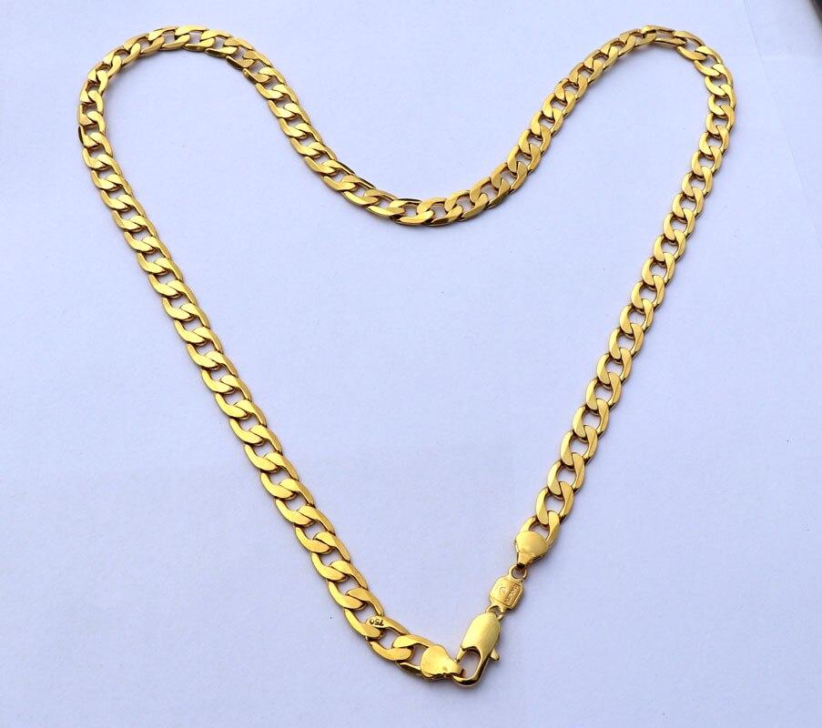 Чистое 24 K тонкое Золотое GF ожерелье твердое Stamep AU750 23,6