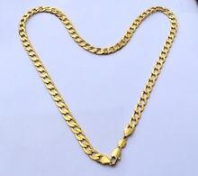 Puro 24 k colar de ouro fino gf sólido stamep au750 23.6
