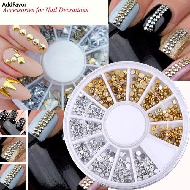 AddFavor Professional Gold Silver Different Designs Rivet Nails Tips  Glitter Wheel Manicure Tools DIY 3D Nail Art Decorations 4f23b7c0e19b